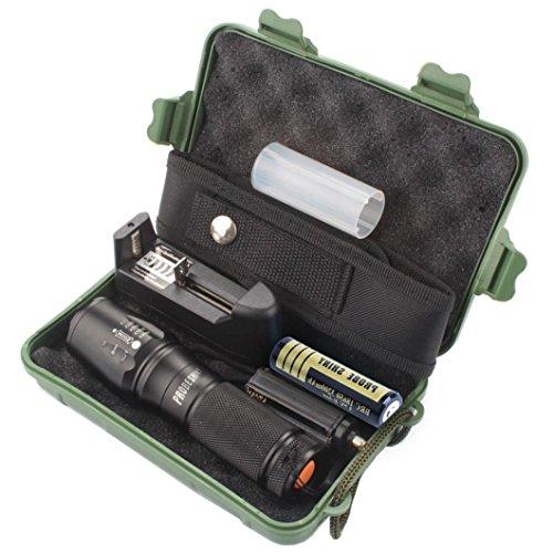 Preisvergleich Produktbild KanLin 5000 Lumen 5-Modus X800 Zoomable XML T6 LED Taktische Polizei Taschenlampe + 18650 Akku + Ladegerät + Gehäuse