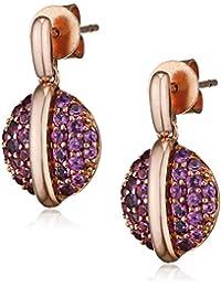 199d7026f Fiorelli Gold 9ct Rose Gold Rhodolite Garnet Pave Set Disc Earrings
