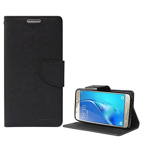for Samsung Galaxy On8 Flip Cover Stylish Luxury Mercury Magnetic Lock Diary Wallet Style Flip Cover Case for Samsung Galaxy On8 (Black)