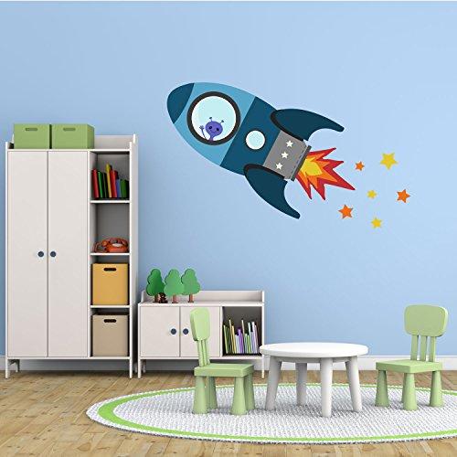 Rakete Wandtattoo (Fliegende Rakete Wandtattoo von Stickerscape - Wandaufkleber (Blau, Großes Größe))