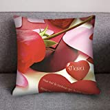 Qinpin Kissenbezüge, Valentinstags-Druck, Polyester, Sofakissenbezug, Heimdekoration, Polyester, F, 45cm * 45cm / 18 * 18