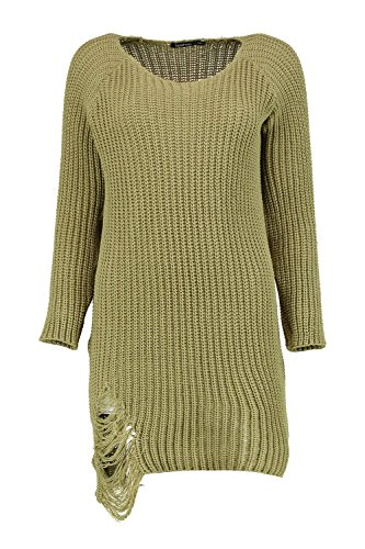 Femmes Kaki Heidi Distressed Knit Jumper Dress Kaki