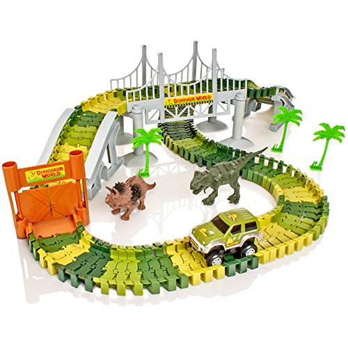 Create-A-Track Jurassic Dino World Pista flexible y juego de coches il