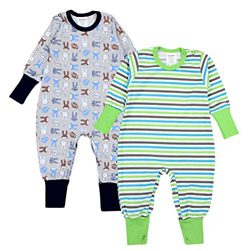 TupTam TupTam Baby Jungen Schlafstrampler Gemustert 2er Pack, Farbe: Farbenmix 1, Größe: 62/68