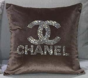Chanel Fanbase de coussin imprimé élégant haute qualité pour canapé de coussin en velours avec cristaux