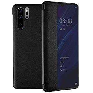Oihxse Samsung S9 Case, [Window View] PU Leather Mirror Smart Touch Flip Cover, Transparent Silicone Folio Stand Cover for Samsung S9 Smart Touch Case, Black   4