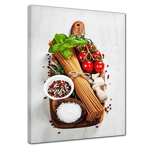 Kunstdruck - Italienische Pasta II - Bild auf Leinwand - 30x40 cm einteilig - Leinwandbilder - Essen & Trinken - Spaghetti zusammen mit Gewürzen und Kräutern