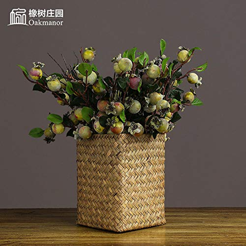 KOONNG Nordamerikanische Stechpalme-Beeren-Künstliche Blume Getrocknete Blumen-Dekoration Innenwohnzimmer-Tabellen-Blumen-Dekoration Glas Vase Hause Dekorative