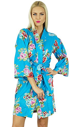 Bimba femmes courtes en coton Robe de demoiselle d'honneur Getting Ready Wrap Cover Up Bleu