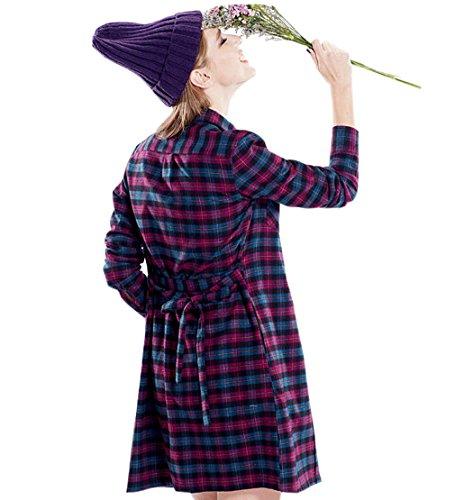 ACVIP Femme Chemise Carreaux Longues Impressions Bouton Fermeture Tendance pour Filles Tunique avec Ceinture Taille S-XL 5#