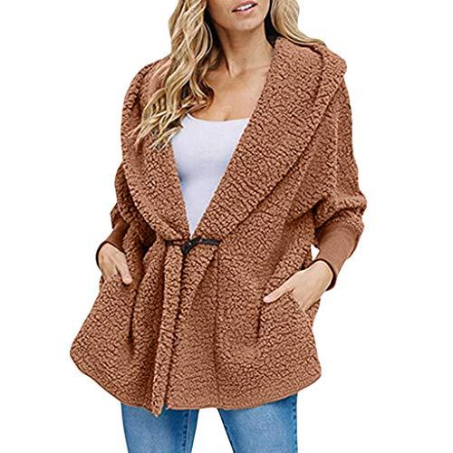 Lonshell Damen Plüsch-Mantel Button Wolljacke Outwear Winter Soft Fleecejacke mit Kapuze Mode Langarm Parka Mantel Fleecemantel Teddyjacke Kapuzenjacke
