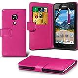 (Hot Pink) Huawei Ascend Y530 Schutzfolie Faux Credit / Debit Card Leder Book Style Tasche Skin Case Hülle Cover, Aus- und einfahrbarem Touchscreen Stylus Pen & LCD-Screen Protector Guard von Spyrox