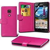 (Hot Pink) Huawei Ascend Y530 Case Brand New Protective 3 Slots Credit / Debit Card Leather Stand Style Wallet Cover Including Retractable Touch Screen Stylus Pen & LCD Touch Screen Protector Guard By Fone-Case