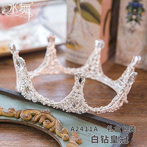 Die neue Krone, gerippt, Domain, diamond Tiara, runden Krone Prinzessin, Hochzeit Zubehör, Geschenkbox, Strass (Ariel Tiara Prinzessin)