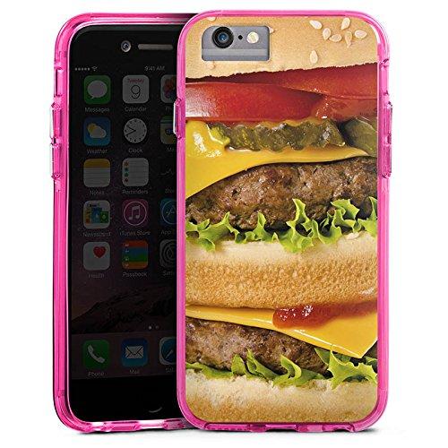 Apple iPhone 6s Bumper Hülle Bumper Case Glitzer Hülle Hamburger Cheeseburger Fast Food Bumper Case transparent pink