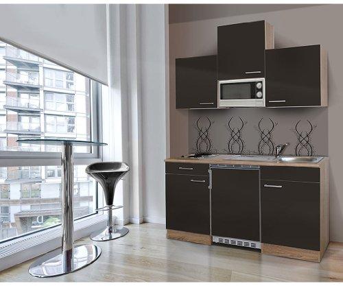 respekta Single Mini Küche Küchenzeile Küchenblock 150 cm Eiche sägerau grau APL Eiche sägerau Nachbildung...
