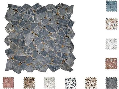 1Netz Marmor Mosaik Bruch getrommelt Nero von Mosaikdiscount24 bei TapetenShop