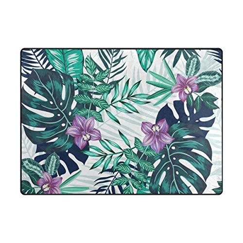 Orediy - Alfombra suave con diseño de hojas tropicales, ligera, para niños, para jugar al suelo, antideslizante...