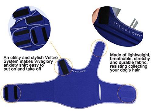Vivaglory Angst T-Shirt mit Stressabbau und Anti-Angst-Effekt für Hunde, verstellbar, Größe M, Blau - 4