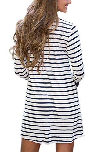 Summer Mae Femme T-shirt Robe Rayée Bleu