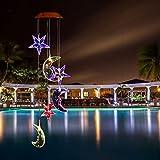 Carrillón viento LED Solar cambiante color Pathonor Carrillón de viento forma luna estrellas LED cambio de color luz 6 Carrillones para jardín decoración del hogar/fiesta/jardín