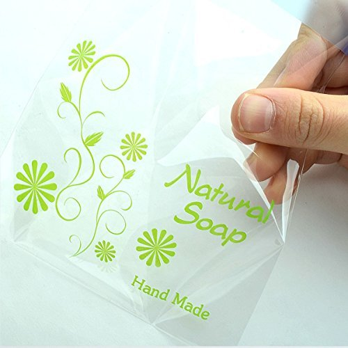 Soap Gift Bags Plastic Bags Yellow Natural Soap Self Adhesive Cellophane Bag 11.5cmx11.5cm+4cm 50sheet by CHAWOORIM