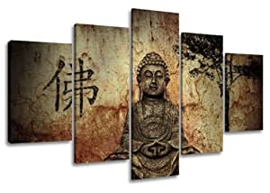 Visario 5502 Tableau sur toile motif Bouddha, 5 pièces 160cm