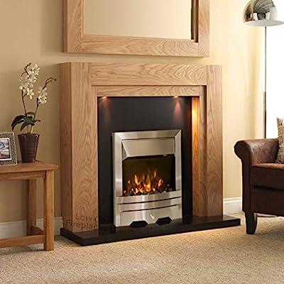"Electric Oak Surround Suite Black Granite Back Silver Fire Lights Wall Fireplace Downlights Large Spotlights Big Lights 54"""