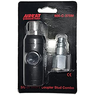 AirCat 600-C-375M 3/8 Npt Safety Coupler Packaged with One Male Fitting, Black and Silver, S