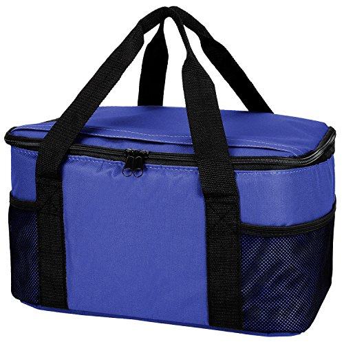 Praktische, leichte Kühltasche mit großem Hauptfach und 2-Wege Reißverschluss - 37 x 20 x 27cm - Royal (Thermos Lunch Bag Schwarz)
