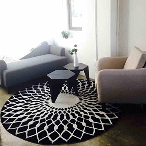 WW skandinavischen Fashion Schwarz und Bai Zirkular Teppich Wohnzimmer Couchtisch Teppich Schlafzimmer Studie Teppich, Diameter 160CM