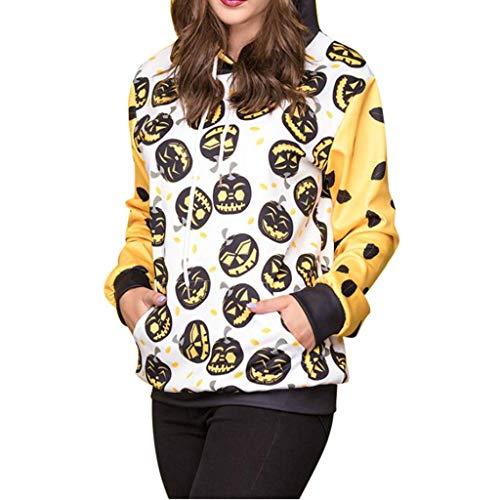 amen Halloween Kürbis Druck Hoodie Cosplay Kapuzenpullover Damen Herbst Kapuzensweatshirt für Halloween Party Ärger Kürbis Shirts Halloween Horro Tshirt (Weiß, 40) ()