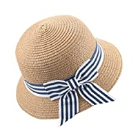 Kolylong Toddler Baby Sun Hat, Kids Girls Cute Stripe Bowknot Cap Breathable Sun Hat Straw Sunhat Holiday Cap Age 2-6 Years, Holidays and Outdoors (Coffee)