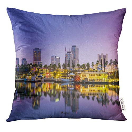 Throw Pillow Cover Port Long Beach California USA Skyline Night Dekorative Kissenbezug Home Decor Square 18 x 18 Zoll Kissenbezug (Werfen Eines Baby-halloween-party)