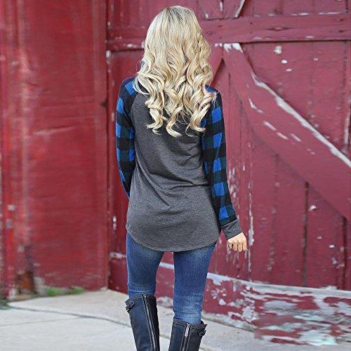 Mambain Camicia Donna Women O-Neck Long Sleeve Sweatshirt Pullover Tops Blouse Shirt C