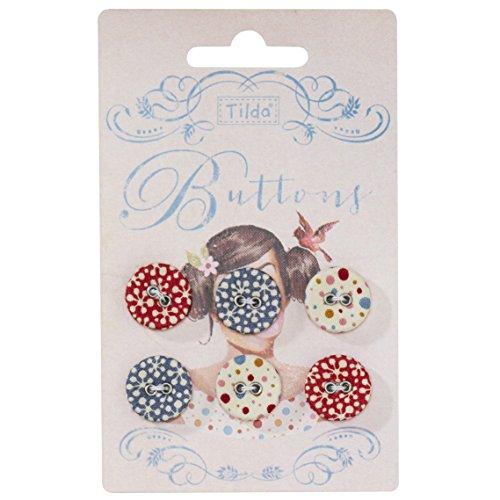 Tilda-Botones Candy de flores, tela, varios colores, 17mm, 6piezas