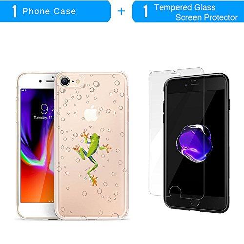 Coque iPhone 8, TrendyBox Transparent Flexible TPU Gel IMD Case Cover pour iPhone 7 et iPhone 8 avec verre trempe film de protection (Fleur de Cerisier et Lapins) Grenouille