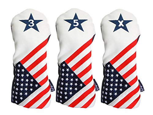 Majek USA Vintage Golf Driver Headcover USA 3, 5, X Schlägerhaube Patriot Golf 2016 Vintage Retro Patriotische Fairway Holz Head Cover passt für alle modernen Fairway Holz Clubs