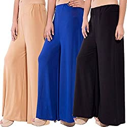 ROOLIUMS (Brand Factory Outlet) Womens Trendy and Stylish Malai Lycra Palazzo (Pack of 3) Free Size (Beige, Blue, Black)