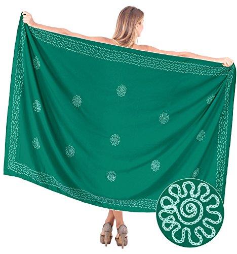 Jahrgang bestickter Bademode Rayon Bikini Sarong Rock Badebekleidung Wickel vertuschen Grün Uns: 36W (3X) / Großbritannien: 38