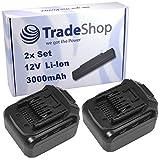 2x Trade-Shop Premium Li-Ion Akku 12V / 3000mAh / 32Wh für LUX-Tools ABS-12-LI A Akkuschrauber ersetzt ABS12LI Schiebe-Akku