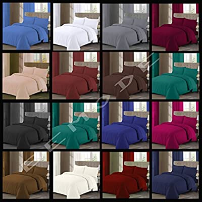 Luxury Plain Dyed Poly Cotton Duvet Cover & Pillowcase Premium Quality Easy Care Bedding Set - low-cost UK light shop.