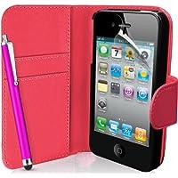 Supergets Flipcase für Apple iPhone 4 / 4S (Brieftaschendesign, inkl. Displayschutzfolie, Bedienstift und Reinigungstuch) I love HOT PINK color
