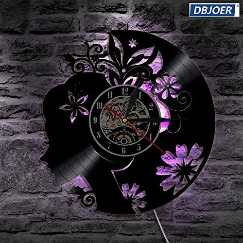TPYFEI Art Deco Wandlampe aus Vinyl Schallplatte Schöne Lady Chrono Uhr LED Schwarzlicht Modern Home Decoration Einzigartiges Geschenk-Mit LED