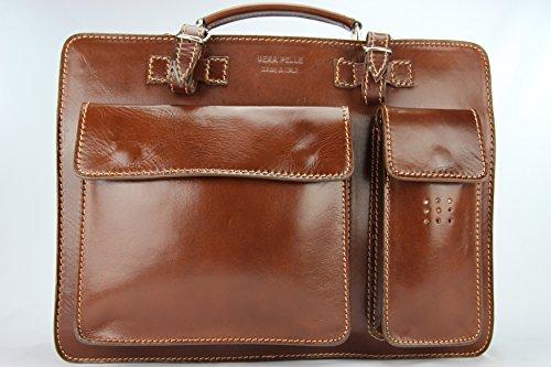 Business- und Laptoptaschen Italienische Luxus Aktentasche L (Rot) Braun