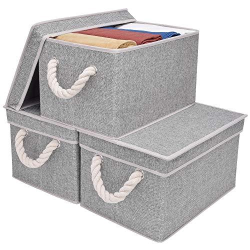 StorageWorks Polyester-Aufbewahrungsbehälter mit Strong Baumwolseil Griff und Deckel, Faltbare Korb Organizer Bin, Bambus Stil, 3er-Pack grau V2 groß