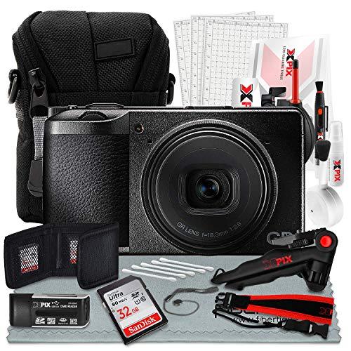 Ricoh GR III 24MP 7,6 cm (7 Zoll) Touchscreen LCD Digitalkamera & 28 mm f/2.8 Objektiv + 32 GB Speicherkarte, Stativ, Point & Shoot Tasche, Gurt, Xpix Deluxe Reinigungsset & Foto-Zubehör