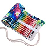 Amoyie Trousse à Crayon Enroulable pour 72 Crayons de Couleur, Sacs organiseurs de Toile, Porte-Crayons Pochettes Rouleaux, enveloppe de Crayon, huiles 72 (Les Crayons ne sont Pas fournis)