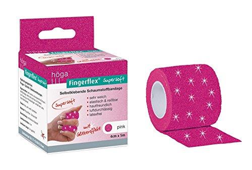 Höga Fingerflex Supersoft pink, mit Glitzereffekt, 4 cm x 5 m