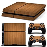 Stillshine Decal Full Body Wood Faceplates Skin Sticker For Sony Playstation 4 PS4 console x 1 and controller x 2 (brown)